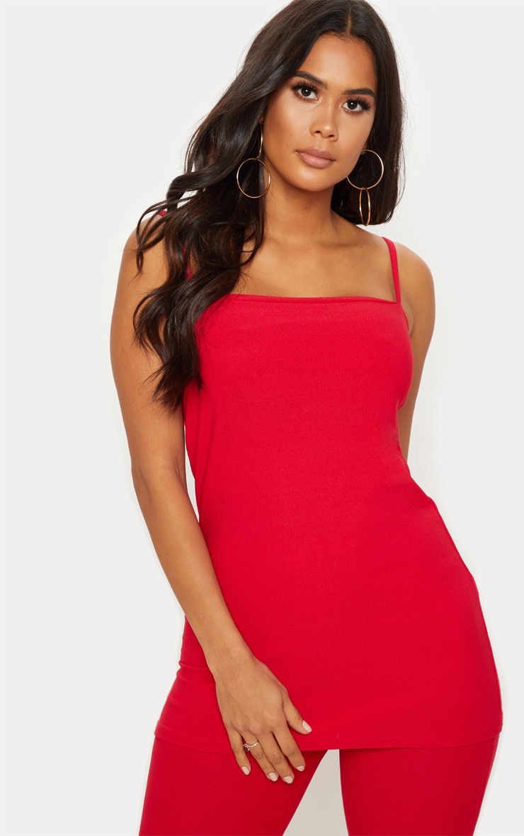 Red Longline Strappy Cami Top