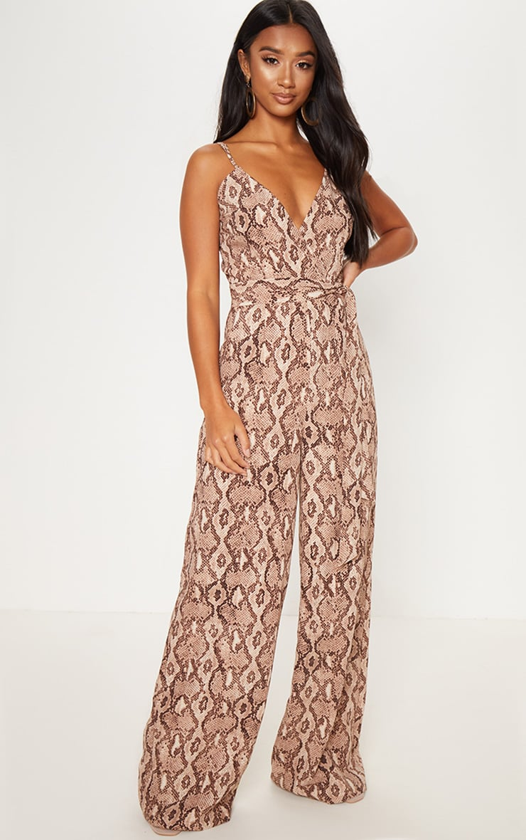 Petite Stone Snake Print Strappy Tie Waist Jumpsuit  4