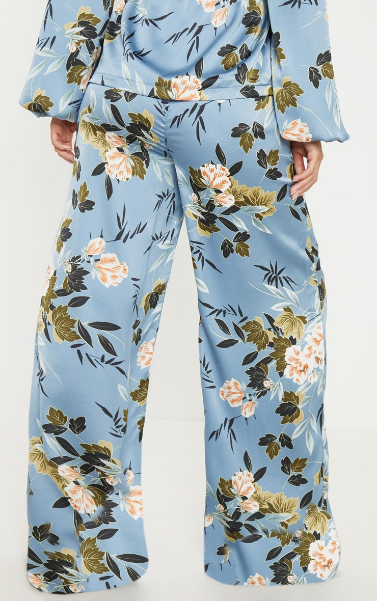 Blue Satin Floral Print Wide Leg Trouser 4