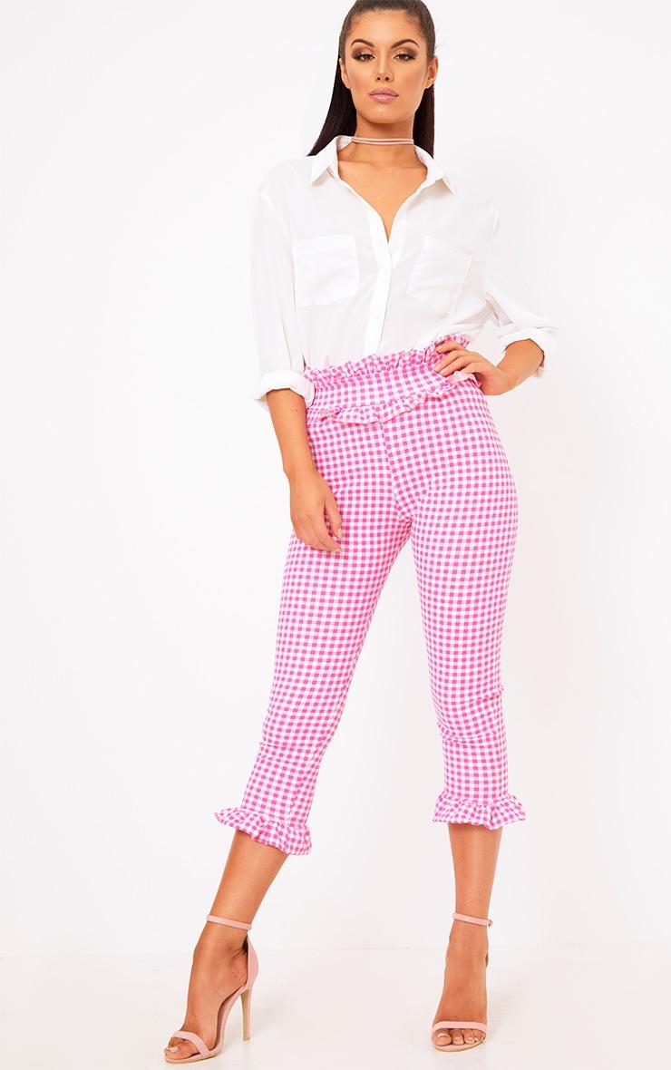 Keren Fuchsia Gingham Frill Trim Trousers 1
