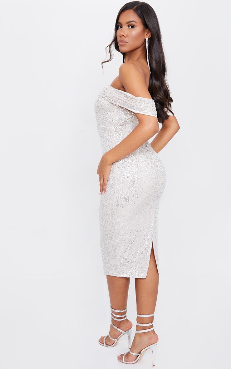 Silver Sequin Drape Bardot Midi Dress 2