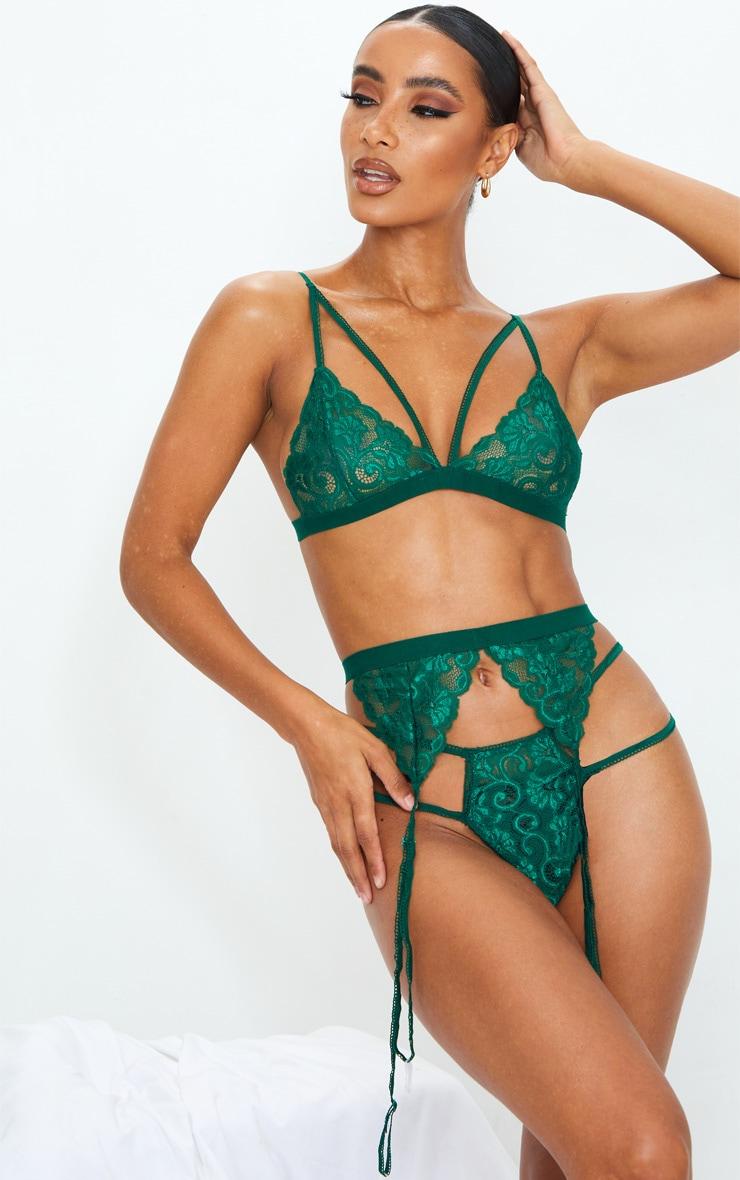 Emerald Green Lace Trim 3 Piece Lingerie Set 3