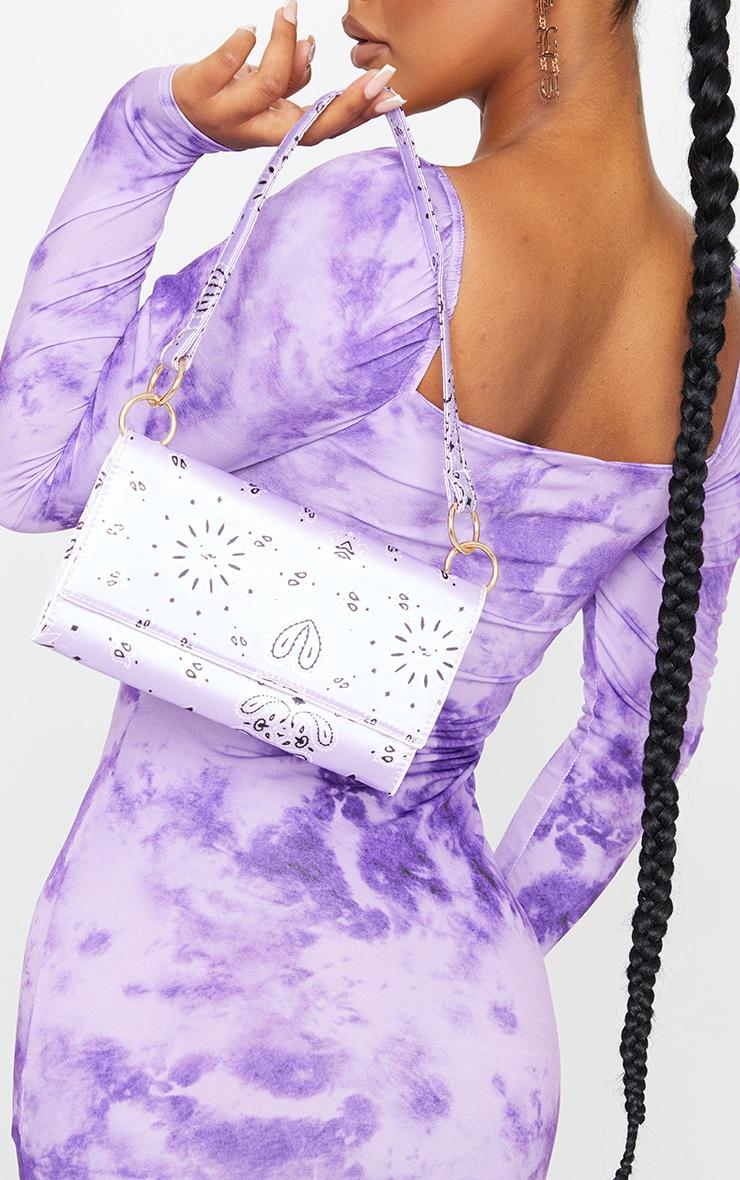 Lilac Scarf Print Shoulder Bag 2