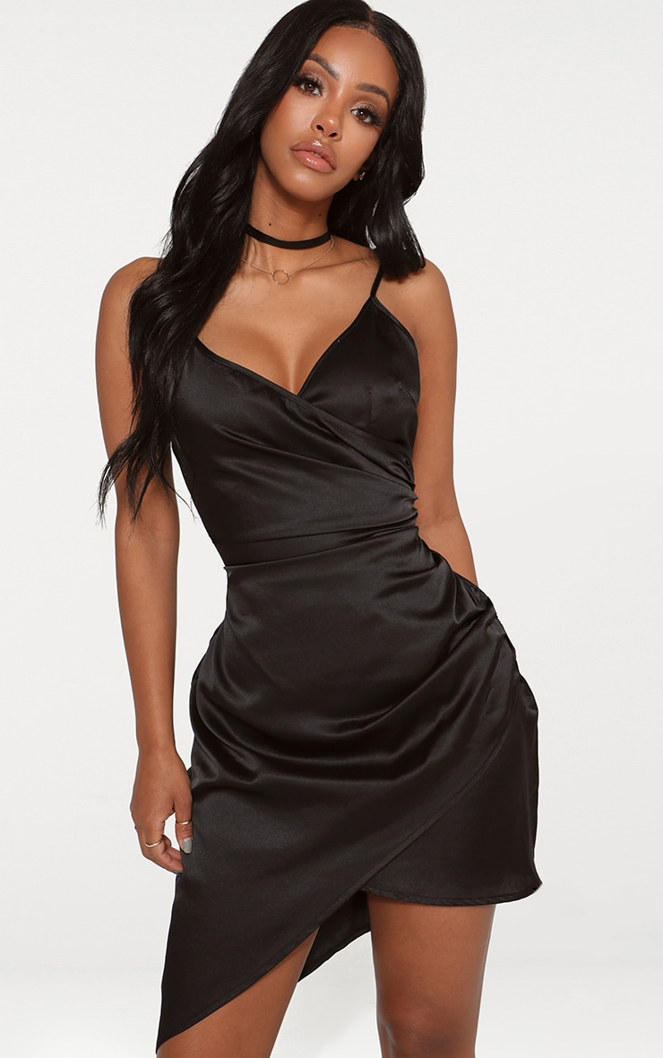 Shape Black Satin Wrap Dress
