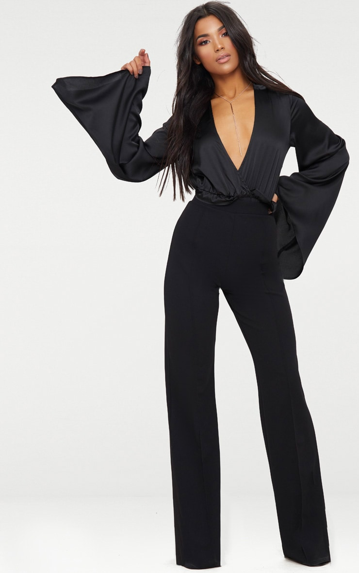 Black Satin Flare Sleeve Thong Bodysuit  5