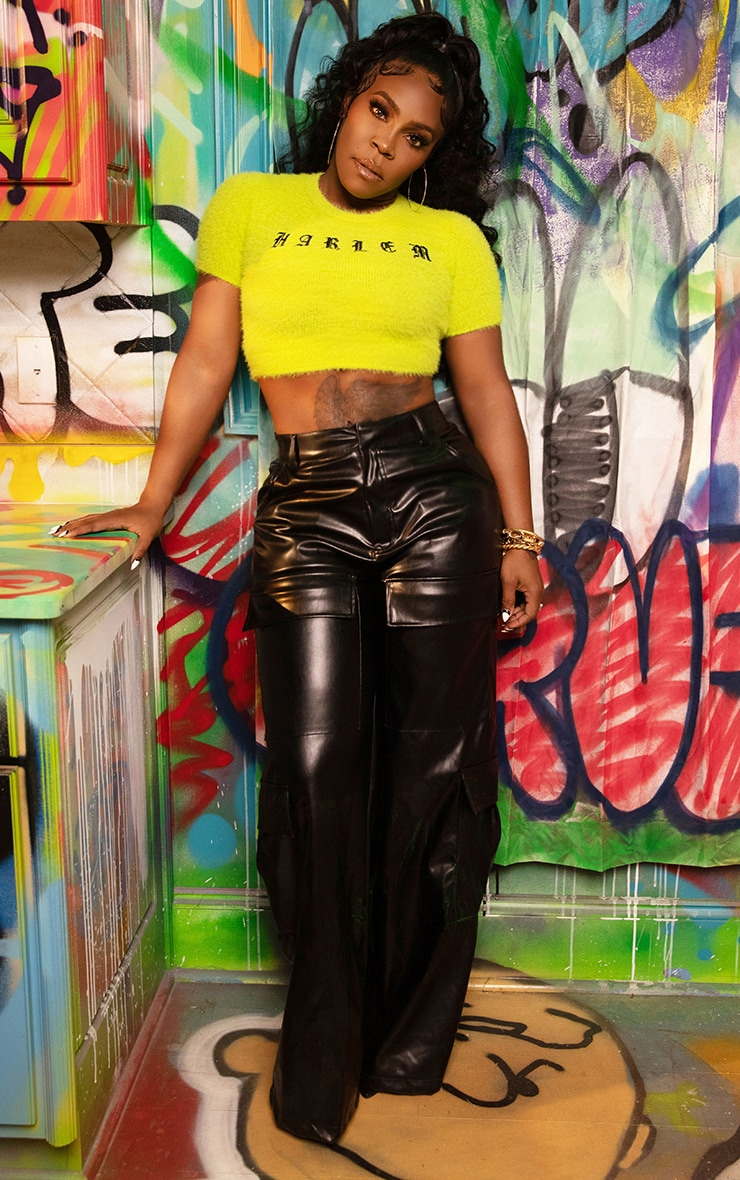 Lime Harlem Fluffy Knitted Crop Top 4