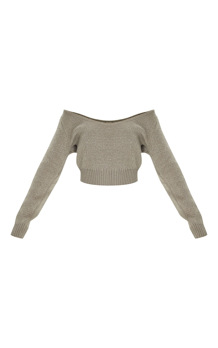 Khaki V Neck Off Shoulder Soft Knitted Crop Sweater 5