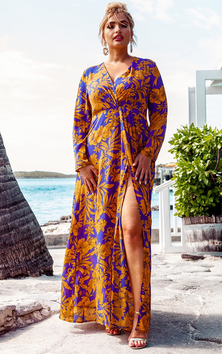 Plus Cobalt Tropical Print Twist Front Maxi Dress