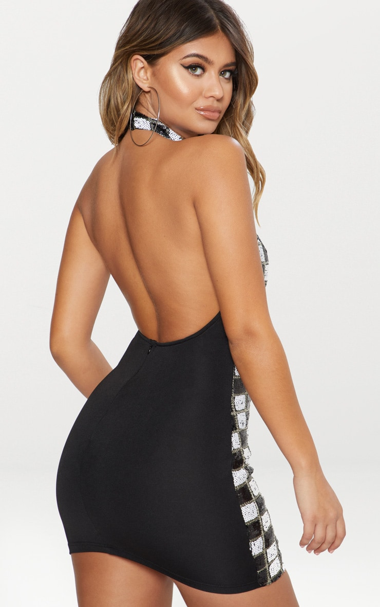 Black Checkerboard Sequin High Neck Low Back Bodycon Dress 2