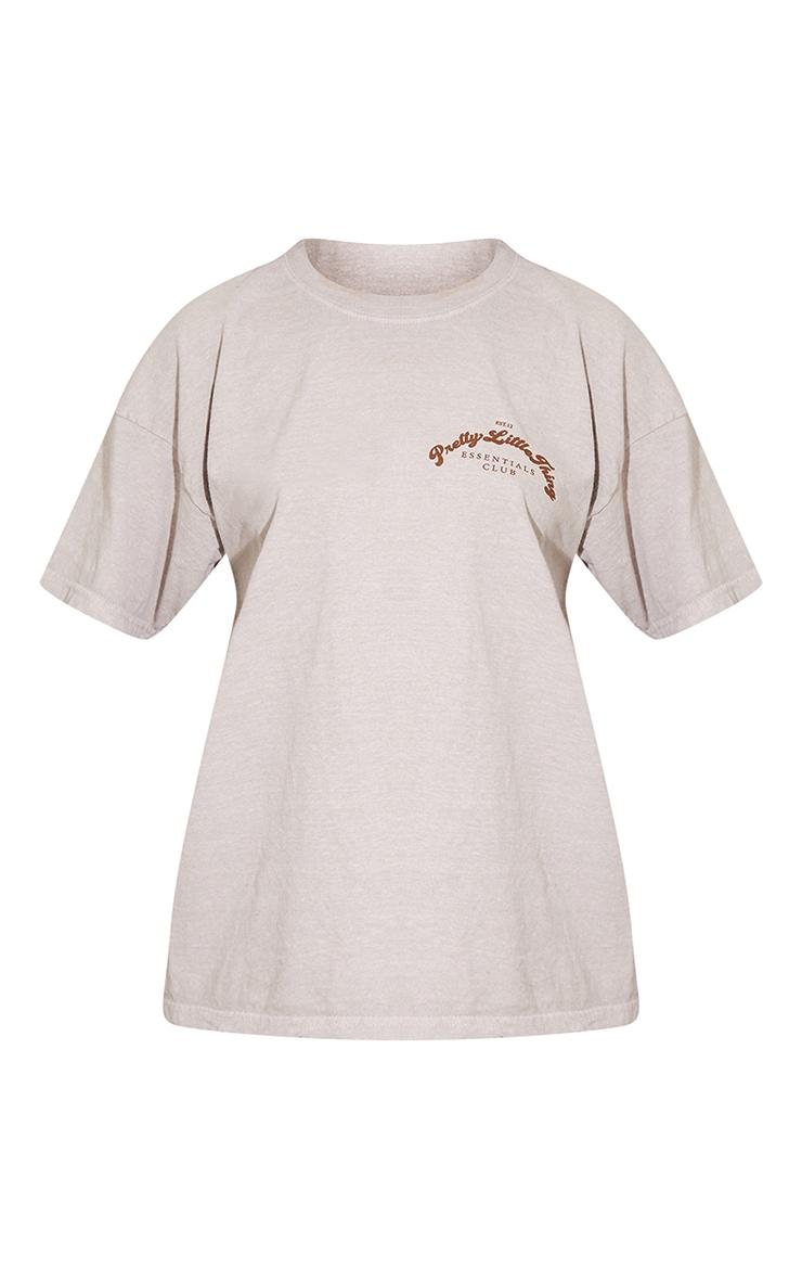 PRETTYLITTLETHING Cream Essentials Print Washed T Shirt 5