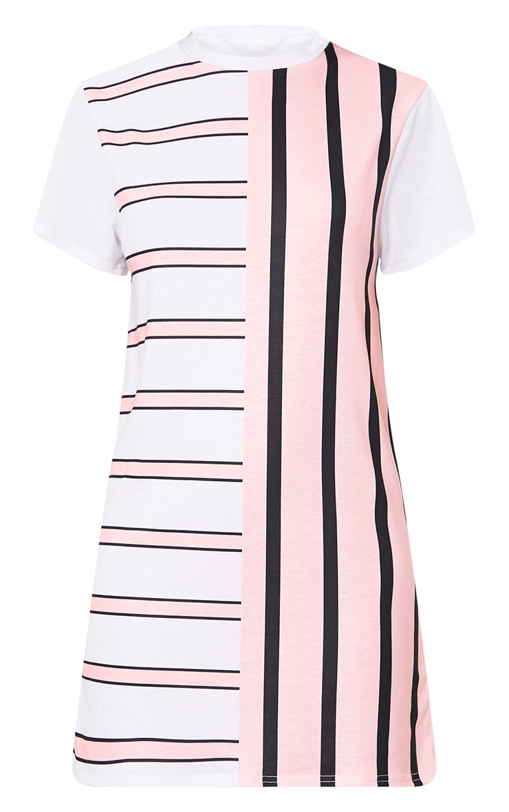 Pink Contrast Stripe T Shirt Dress 3