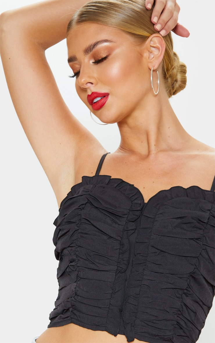 Black Ruched Front Cami Crop Top 1