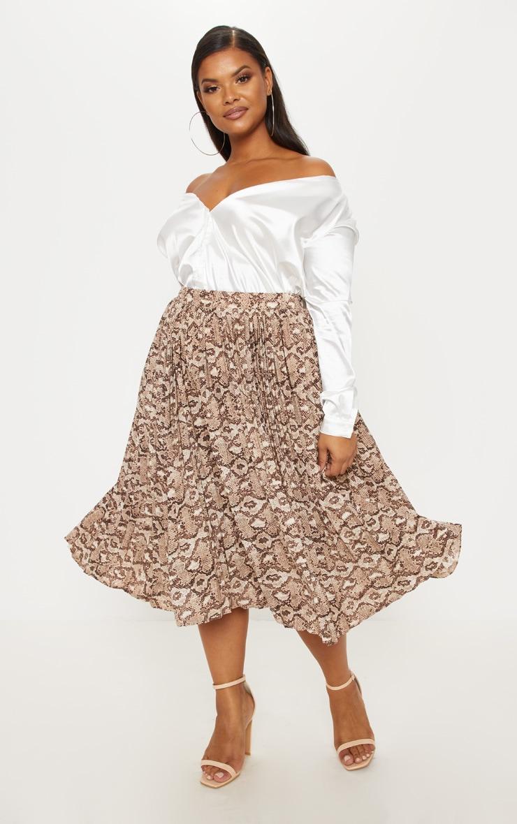 Plus Taupe Snake Print Pleated Midi Skirt 5