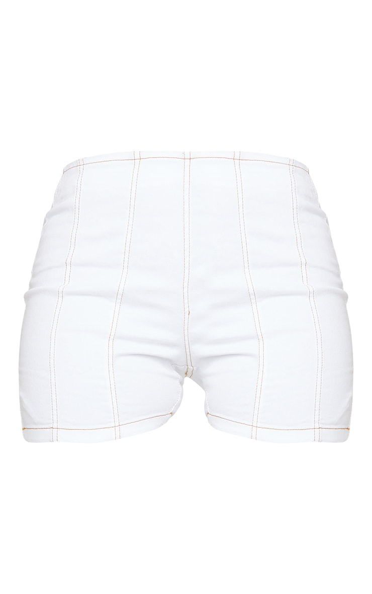 Shape White Denim Contrast Stitch Fitted Shorts 6