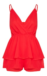 Red Frill Layer Romper 3
