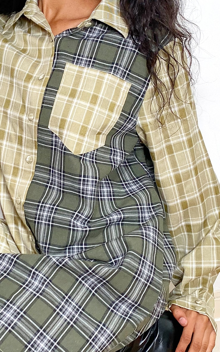 Green Two Tone Checked Shirt Dress 4