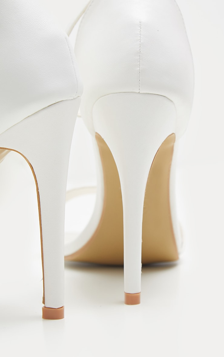 Clover White Strap Heeled Sandals 4