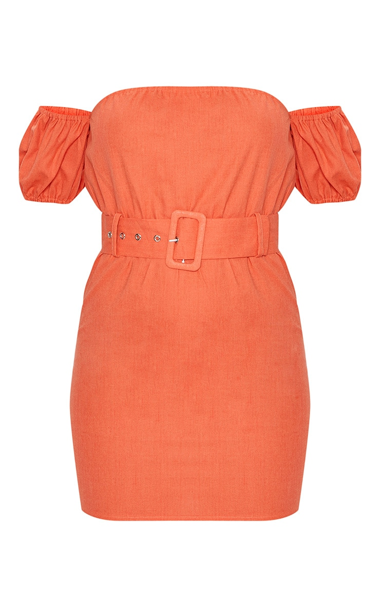 Orange Belt Detail Bardot Shift Dress 3