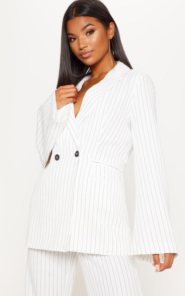 Cream Pinstripe Longline Oversized Woven Blazer 1