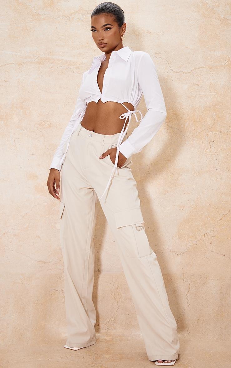 White Cotton Drawstring Side Crop Shirt 3