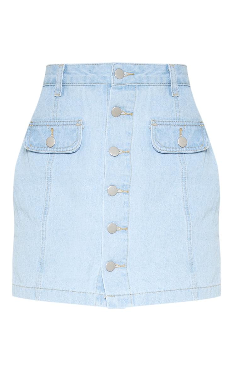 Light Blue Wash Pocket Detail Button Through Skirt 3