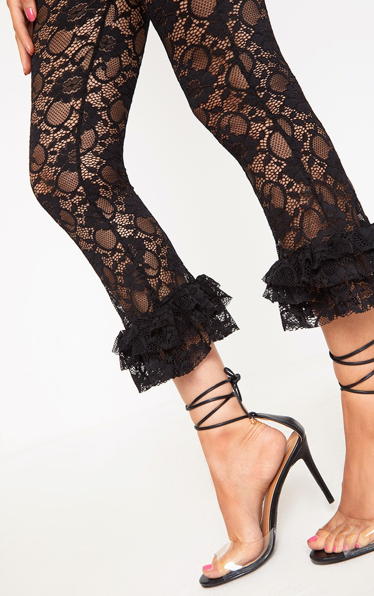 Black Lace Frill Hem Cropped Trousers 5