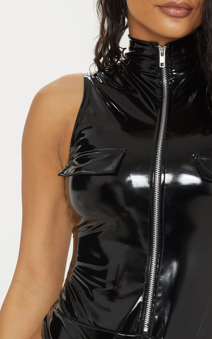 Black High Neck Sleeveless Vinyl Bodysuit 6