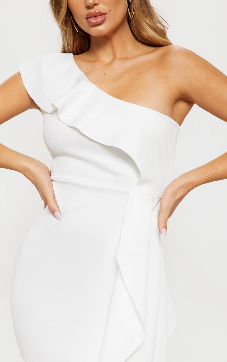 White Scuba One Shoulder Bodycon Dress 5