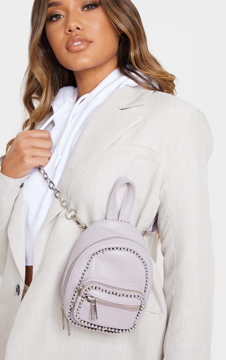 Dusty Lilac Ball Chain Border Mini Rucksack 1