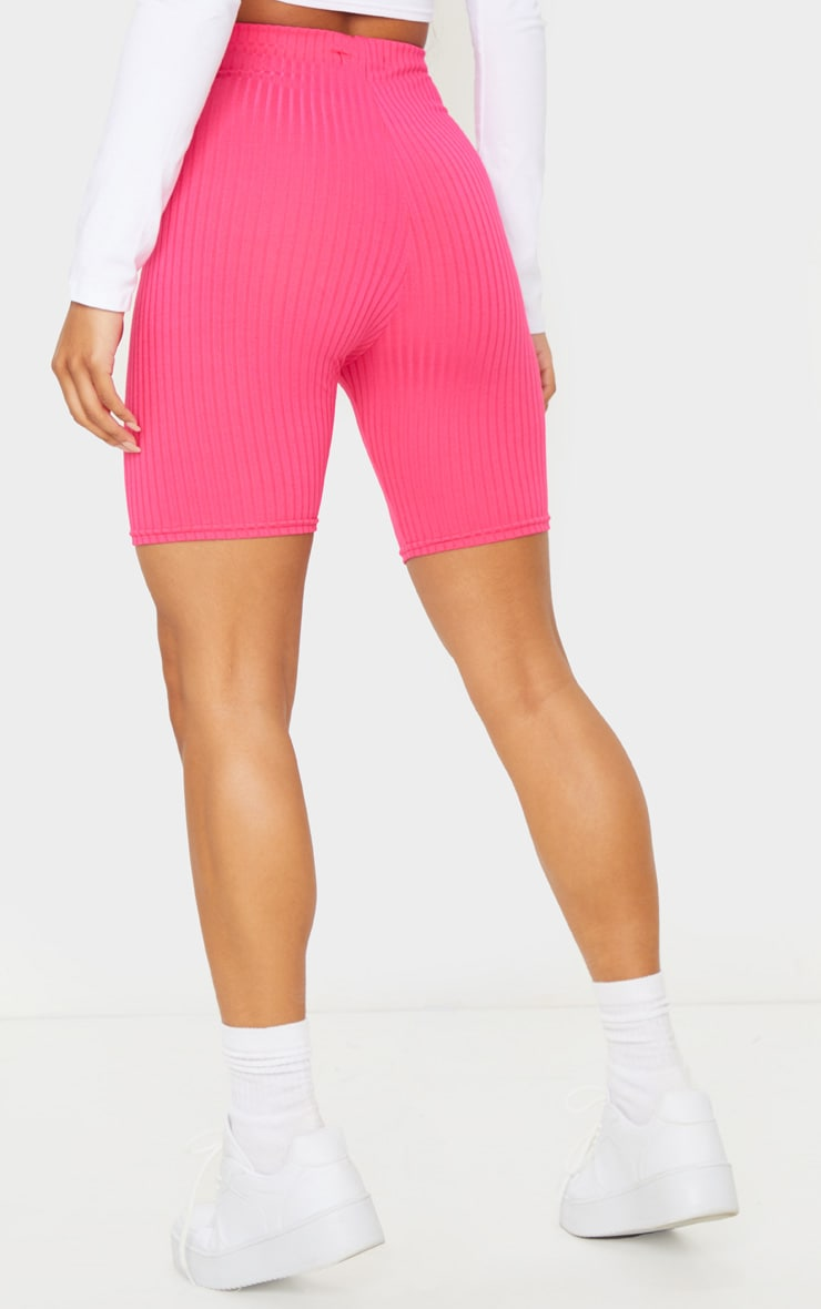 Hot Pink Ribbed Bike Shorts 3