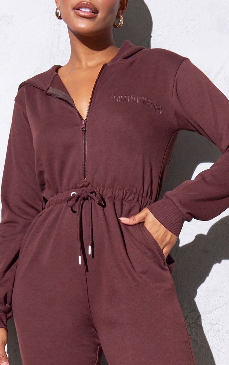 RENEW PRETTYLITTLETHING Chocolate Hooded Sweat Jumpsuit 4