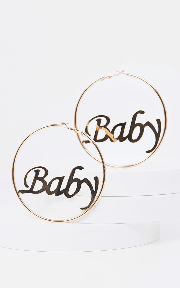 Gold Baby Slogan Large Hoop Earning 2