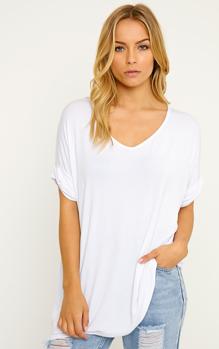 Basic White V-Neck Roll Sleeve T-Shirt 4