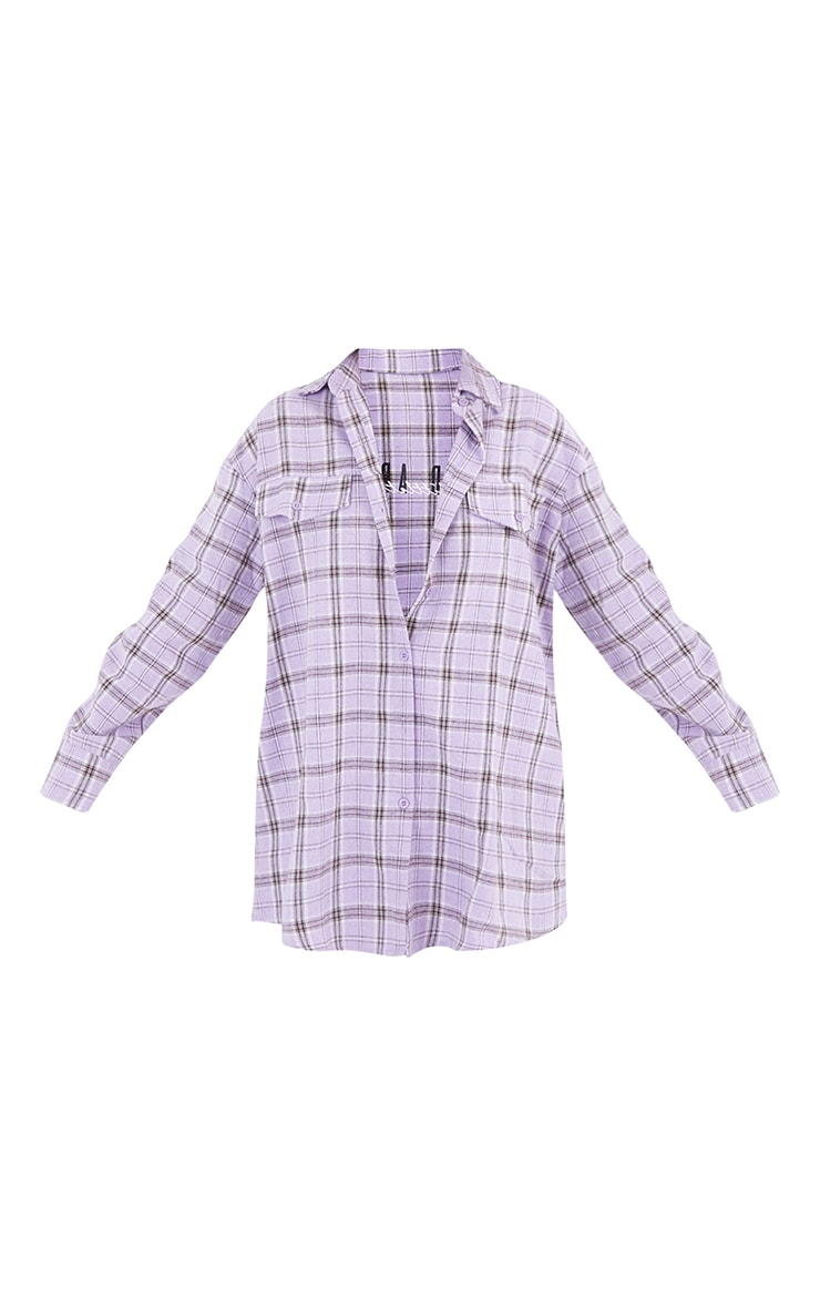 PRETTYLITTLETHING Lilac Back Print Checked Oversized Shirt 5