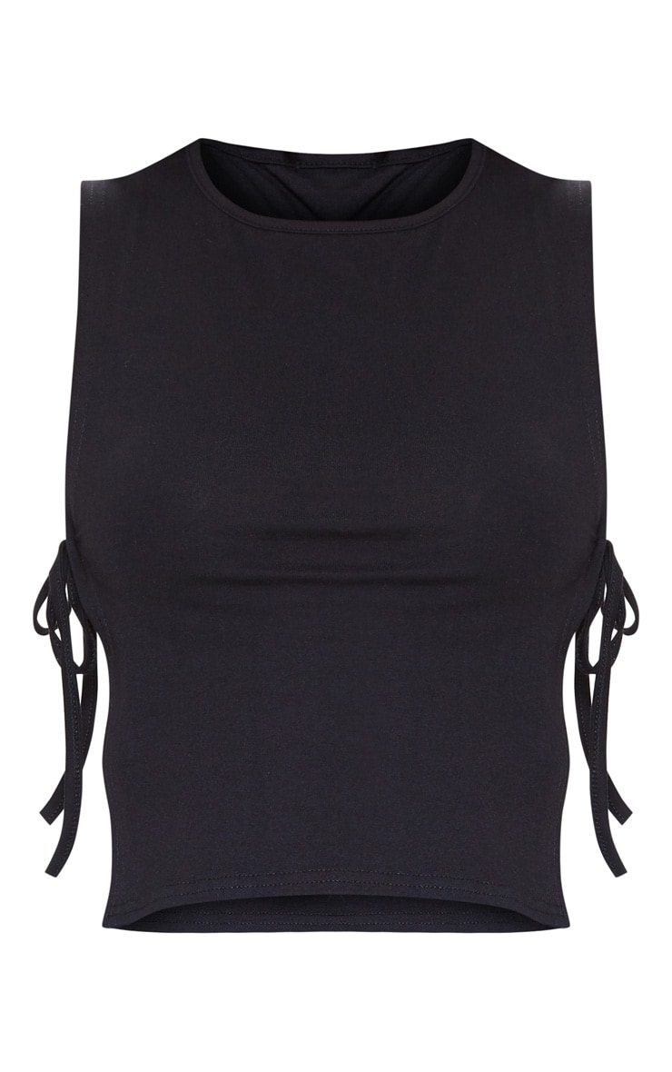 Black Cotton Tie Side Vest Top 3