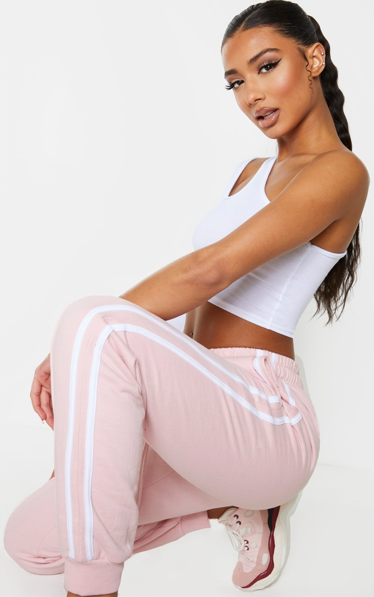 Pink Double Side Stripe Joggers 4