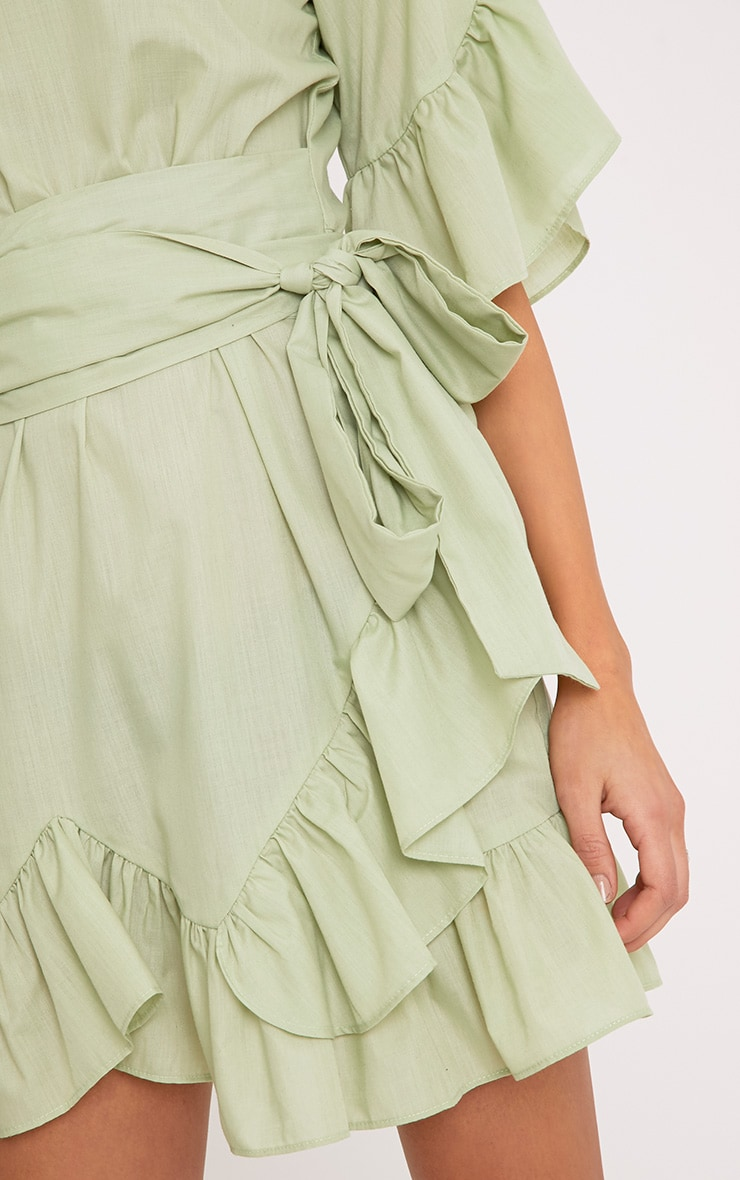Aaliyah Sage Green Frill Detail Mini Dress 5