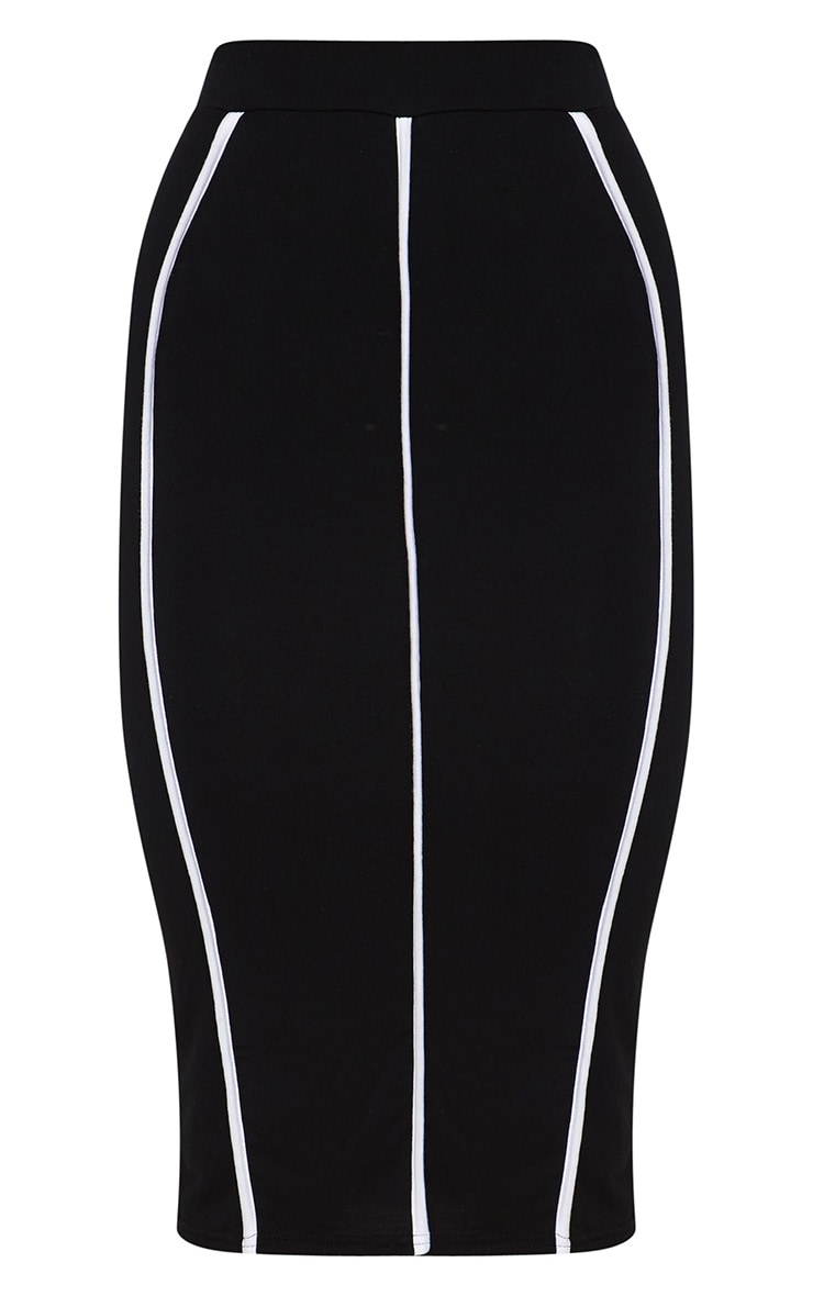 Black Jersey Binding Detail Midi Skirt 3