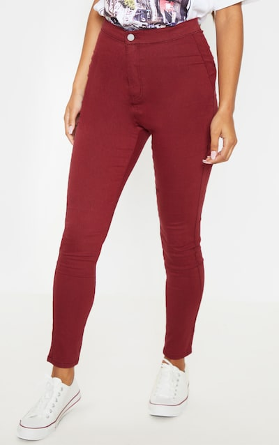 Dark Red Denim Jegging