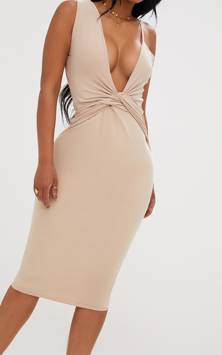 Shape Nude Knot Front Plunge Midi Dress 5