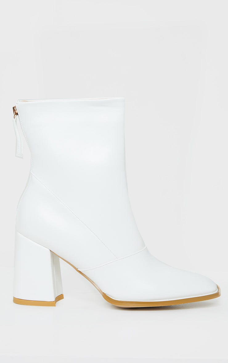 White Square Toe Panel Flare Low Block Heel Ankle Boots 4