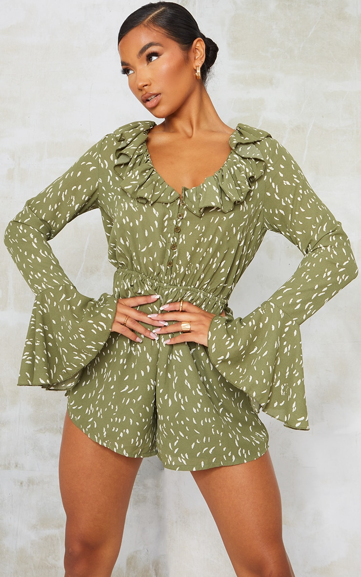 Green Printed Flare Sleeve Button Detail Playsuit 1