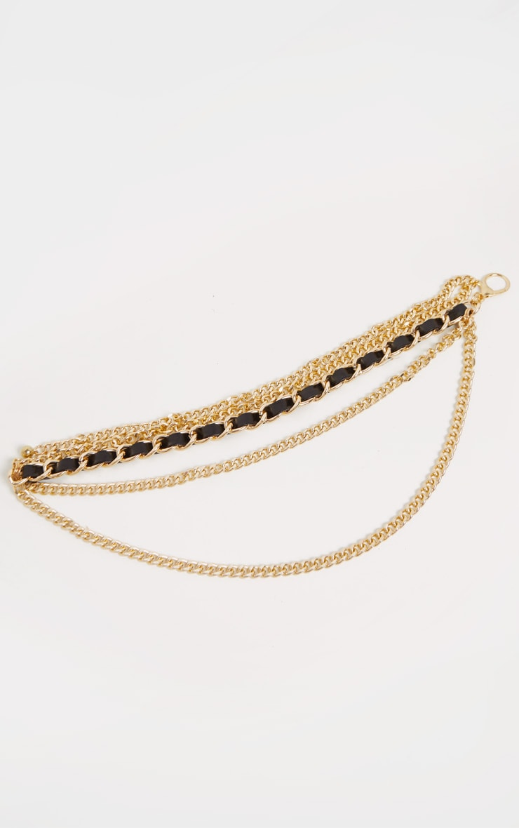 Gold PU Plaited Chain Belt 2