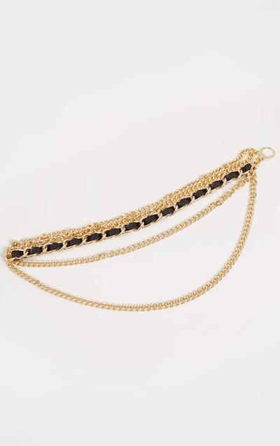 Gold PU Plaited Chain Belt