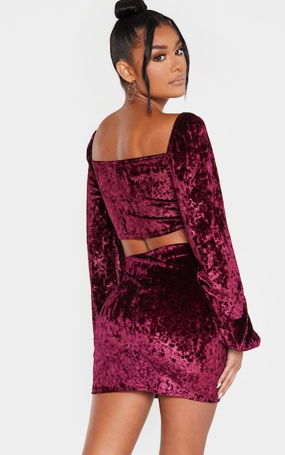 Purple Leopard Print Velvet Puff Sleeve Tie Front Crop Top