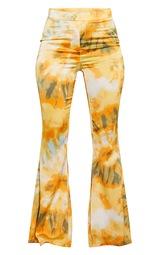 Orange Tie Dye Woven Flared Trousers 5