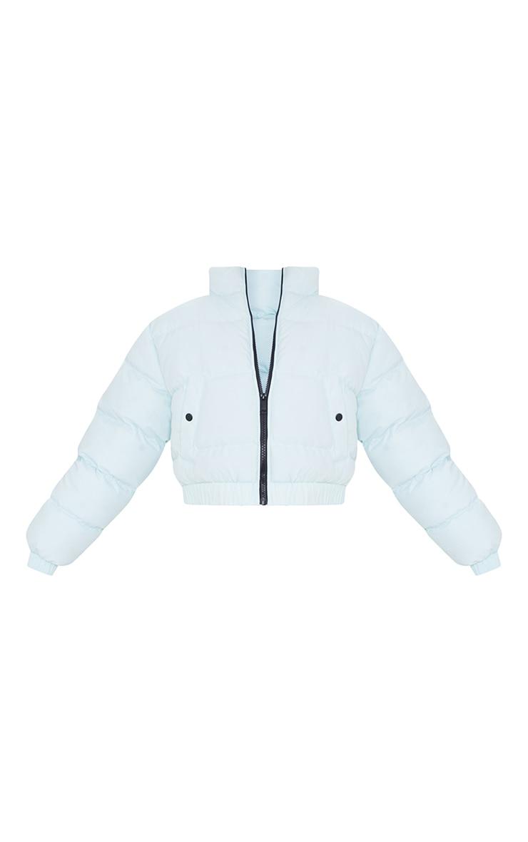 Mint Cropped Elastic Hem Bubble Puffer Jacket 5