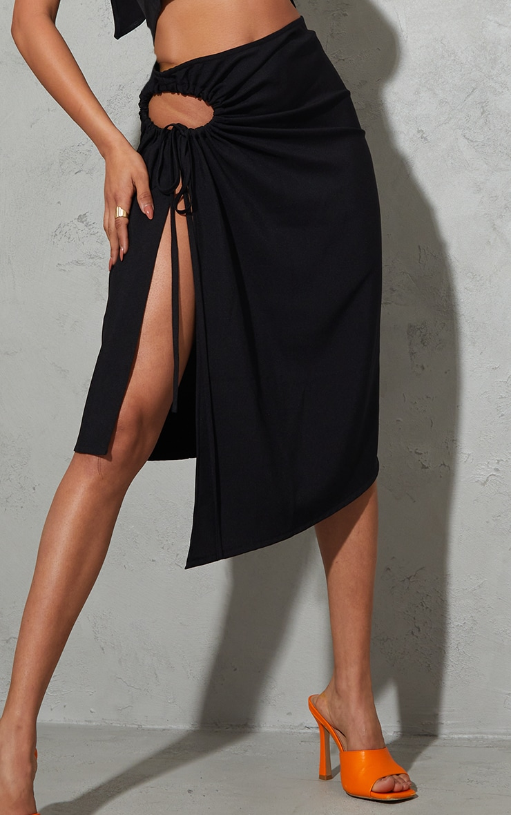 Black Woven Ruched Cut Out Detailing Midi Skirt 4