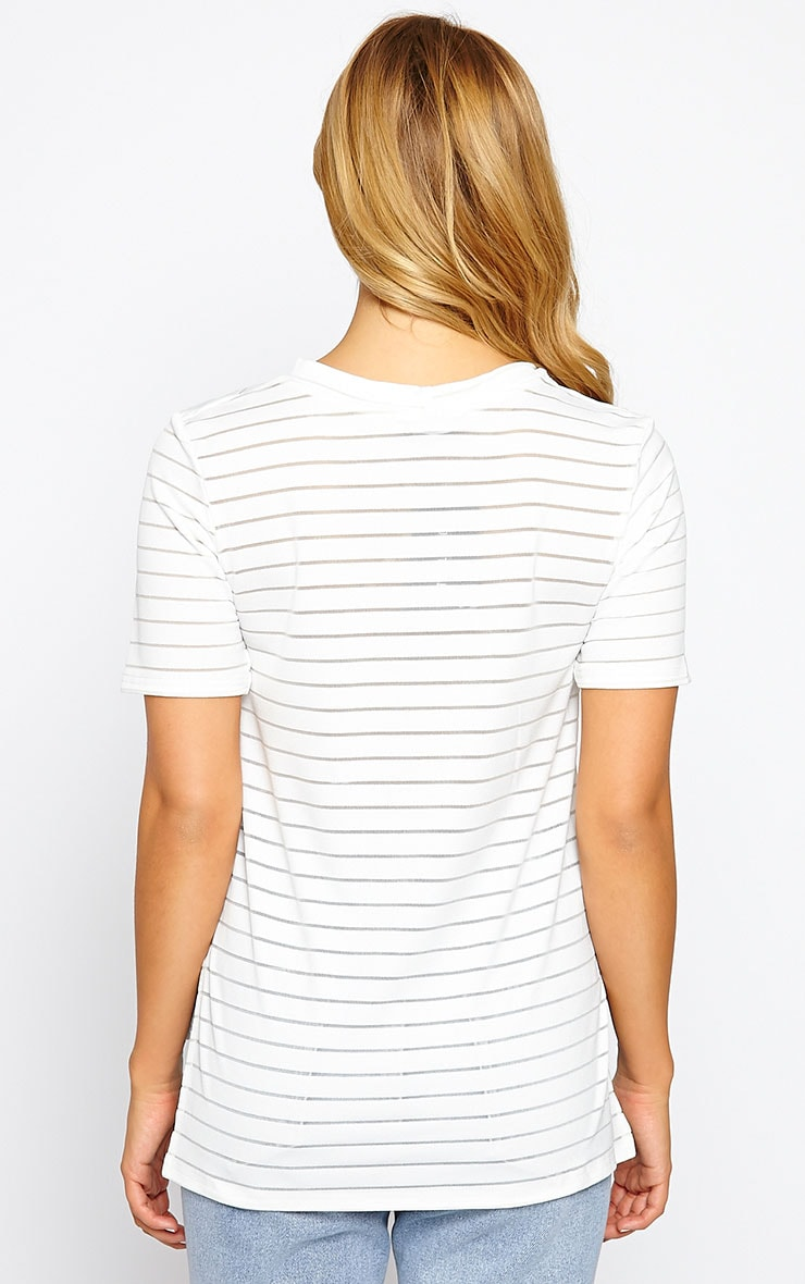 Elodie Cream Burnout Stripe T-Shirt 2