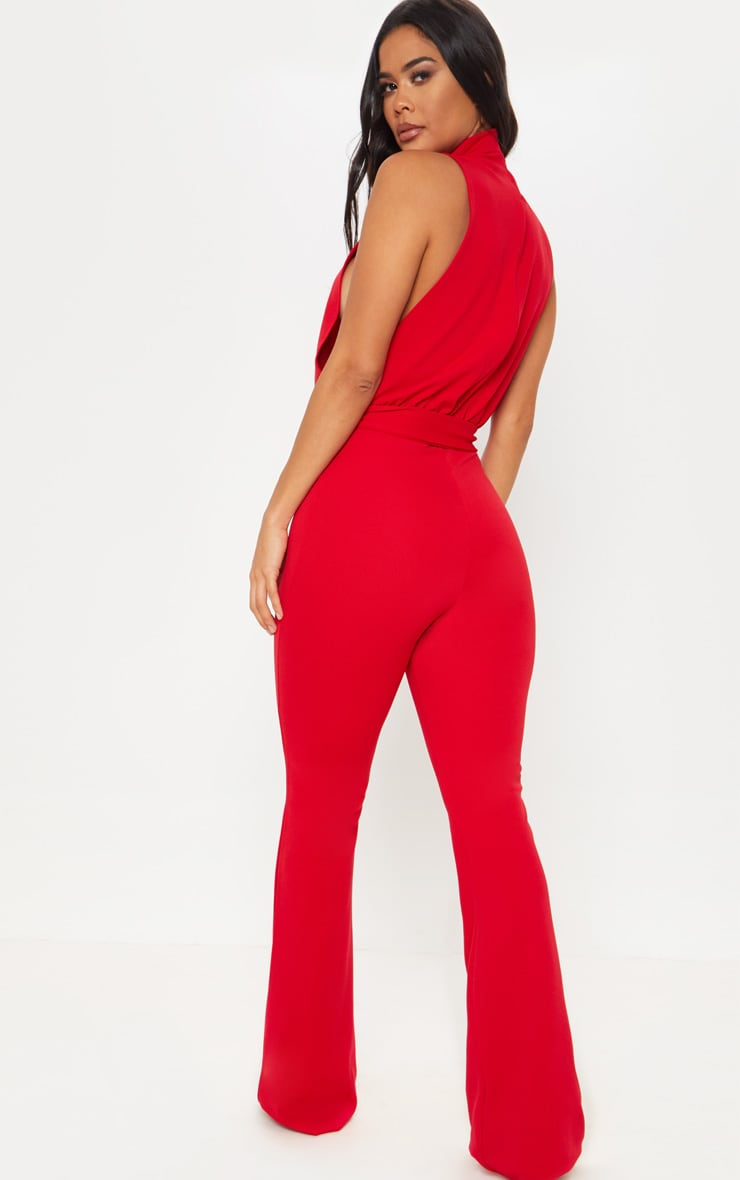 Red Scuba High Neck Tie Waist Jumpsuit 2